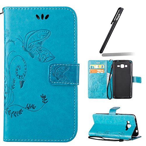 Funda para Galaxy Core Plus, Galaxy Core Plus G350 Funda de PU cuero resistente Ultra Slim Folding Stand Flip Funda Carcasa Caso,Galaxy Core Plus G350 Leather Case Wallet Protector Card Holders, Ukayf mariposa-azul