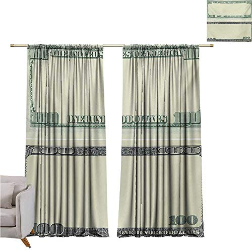 (Anzhutwelve Money,Valance Curtains Hundred Dollar Bill Century Note Design American Currency Style Frame Pattern W108 x L84 Art Print Customized Curtains)