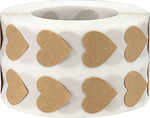 Brown Kraft Heart Stickers, 1/2 Inch Wide, 1000 Labels on a Roll