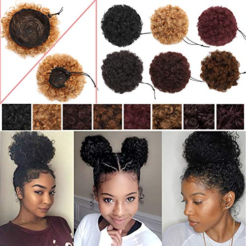 - S-noilite Afro Bun Extension Puff Ponytail Chignon Hairpiece With Drawstring Afro Kinky Curly Wrap Messy Updo Synthetic For Black Women(8inch 1pcs,honey blonde)