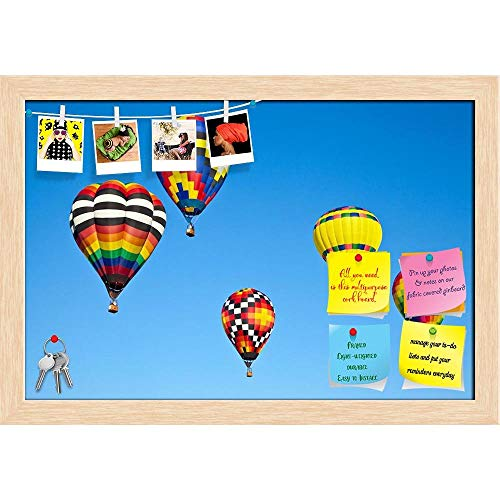 ArtzFolio Balloon Festival Statesvill North Carolina, USA Printed Bulletin Board Notice Pin Board Cum Natural Brown Framed Painting 17.5 x 12inch -