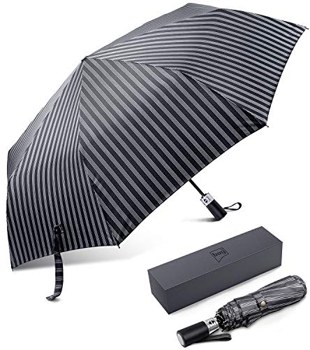 (BOY TF Automatic Compact Umbrella, Folding Umbrella Travel, Windproof, Fast Dry (Stripe Silver) ¡)