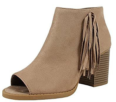 Soda Women's Sueded Fringe Peep Toe Chunky Stacked Heel Bootie (6 B(M) US, Light Taupe)
