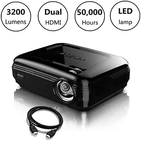Video Projector PRAVETTE 1080P LED LCD Mini Projector with +20% Lumens 200'' Projection Screen Home Theater Portable Projector Support HDMI/USB/AV/Phone/PC/TV/Laptop/Camera (Jet Black)