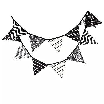 Qhua® Wimpelkette Schwarz / Weiß, Stoff-Girlande, 3,5 m, 12 Wimpel ...