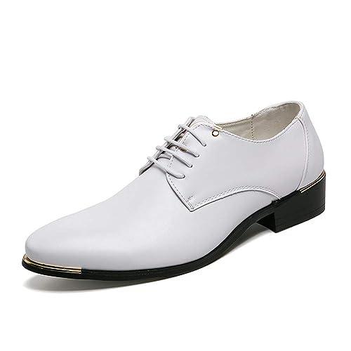 8545fa79768f46 HILOTU Oxford d'affaires pour Hommes Chaussures décontractées à Lacets de  Couleur Pure Chaussures habillées