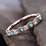 Turquoise Ring,CZ Ring,Natural Turquoise Wedding Ring,Sterling Silver Rose Gold Plated
