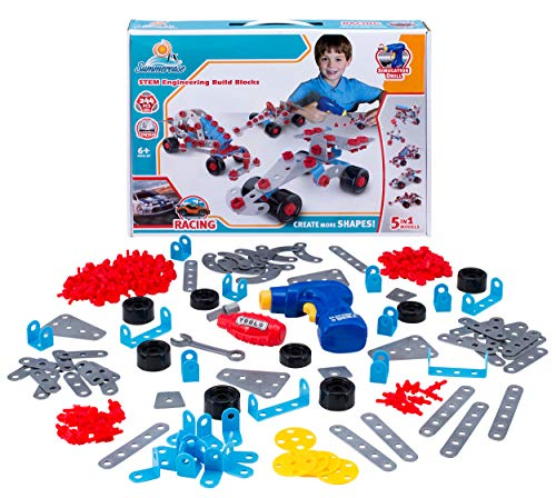 Summerease STEM Building Toys for Kids: Educational Construction and Engineering Build Blocks for Cars and Other Structures - Creative Learning Toys for Boys and Girls Age 6 and Up - 244 Piece Kits