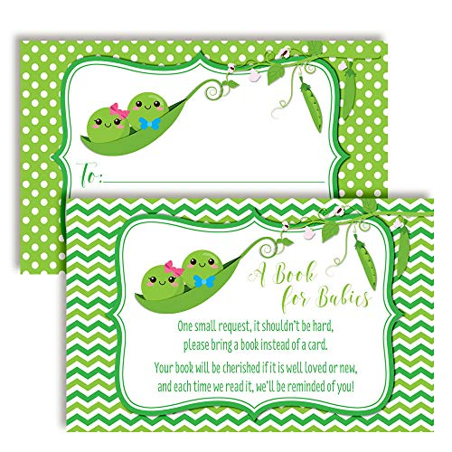 """Two Peas in A Pod Twin Boy and Girl """"Bring A Book"""" Cards for Twin Baby Showers, 20 2.5"""" X 4"""" Double Sided Insert Cards by AmandaCreation, Invite Guests to Bring A Book for The New Arrival!"""
