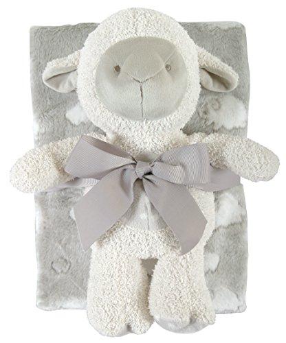 Stephan Baby Snuggle Fleece Crib Blanket and Plush Toy Set, Gray Lamb -  120837