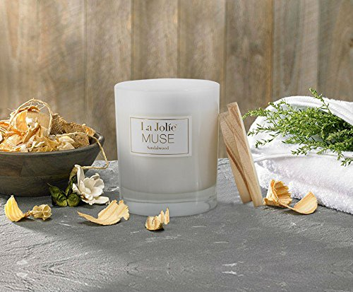 LA JOLIE MUSE Wood Wick Soy Candles Sandalwood Scented Glass Jar Candle, 45 Hours Burning, Gift by LA JOLIE MUSE (Image #4)