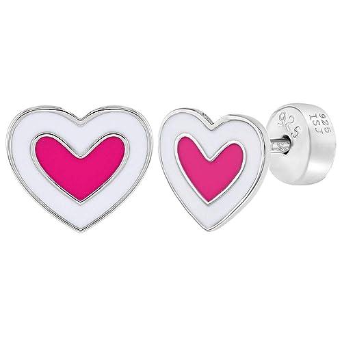 925 Sterling Silver Enamel White Pink Butterfly Screw Back Toddler Earrings
