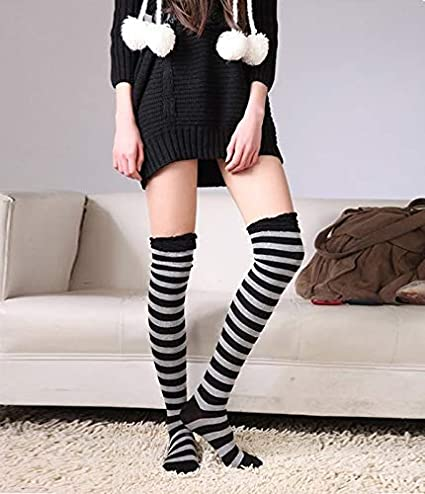 fe7782de3b9 Zhahender Winter Women Girls Navy Fashion Rainbow Striped Cotton Stockings  Wholesale Over The Knee Cotton high Socks Candy Color Student Socks (Color    Red) ...