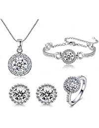 4pcs Fashion Crystal Earrings Necklace Set,Round Cut...