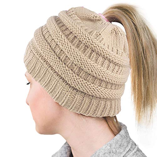 Lvaiz Womens Ponytail Beanie Tail Crochet Knitted Messy Bun Knit Hat Stretch Cable Chunky Bun Hat Cap