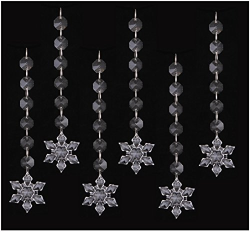 30PCS Snowflake Acrylic Crystal Beads Garland Chandelier Hanging Wedding Party Celebration Decor … (Style -
