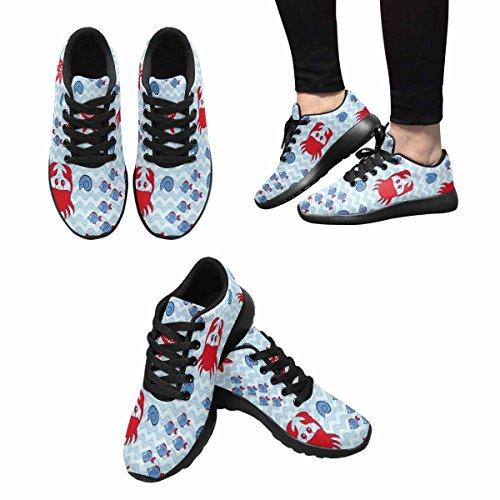 Interestprint Mujeres Footing Running Sneaker Ligero Go Easy Walking Comodidad Casual Zapatillas Cangrejo, Estrella De Mar, Shell Y Fish Multi 1