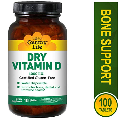 Country Life Dry Vitamin D, 1000 IU - 100 Tablets 1000 Iu 100 Tabs