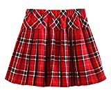 Litter Girl's Elastic A-line School Uniform Skirt (140CM / 7-8Y, Red Mixed White)