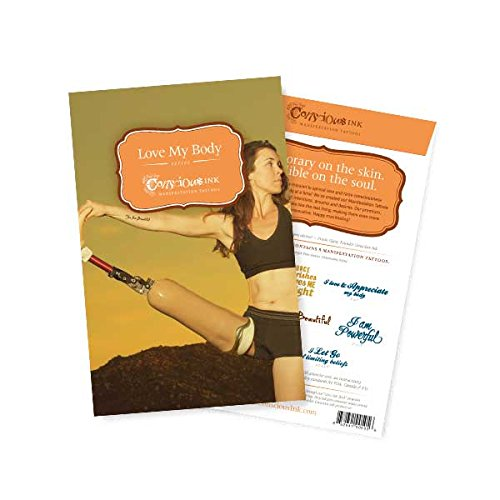 Conscious Ink Love My Body Manifestation Tattoo 8-Pack, 1 Pack of 8 Inspirational Temporary Tattoos