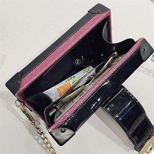 Bretelles Messenger Bag Sac à épaule PU Simple bandoulière Loisirs carré Zip Rouge Boucle rétro Rose wIxCvHpAq
