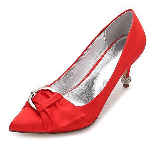 Las 26 Vestido YC Mujeres Boda L Ribbon Novia F17767 de Party Zapatos Red Satinado de amp; Pump Basic Verano de Evening Confort X6wB8q