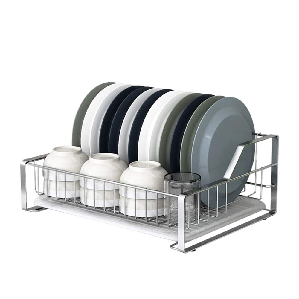 MLQ Stainless Steel Kitchen Cutlery Drain Rack with Drainboard, Multipurpose, High Capacity, for Storage Bowls, Plates, Cups, Silver, 443317Cm