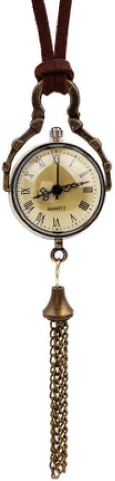 Sky God Relojes de Bolsillo, Números Romanos Reloj de Bolsillo Cuarzo 180 Grados Bola de Cristal Giratoria Antigua Mesa Colgante Collar de Borla Reloj de Bolsillo