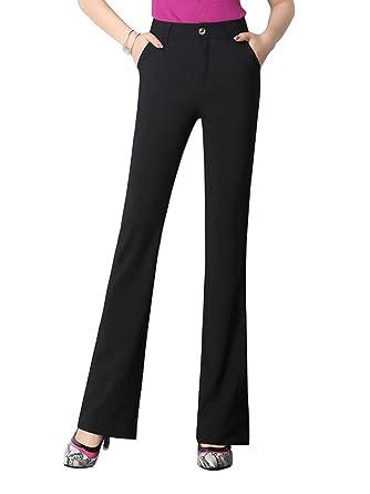 a869bf50259c5 Gooket Women s High Waist Boot-Cut Pants Classic-Fit Office Work Suit Pants  Black