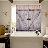 MOSTON Fabric Shower Curtains Old Wooden Door Decorations Bathroom Curtain 100% Waterproof, Machine Washable, 70.8 x 70.8 Inch