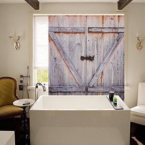 Cowboy Western Door Curtain - MOSTON Fabric Shower Curtains Old Wooden Door Decorations Bathroom Curtain 100% Waterproof, Machine Washable, 70.8 x 70.8 Inch