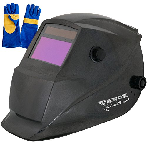 Leather Helmet Shields (Tanox Auto Darkening Welding Helmet ADF-206S: Solar Shade Lens, Tig Mig MMA, Adjustable Range 4/9-13, Grinding 0000, Plus 16 Inch Kevlar Fire Retardant Welding Gloves)