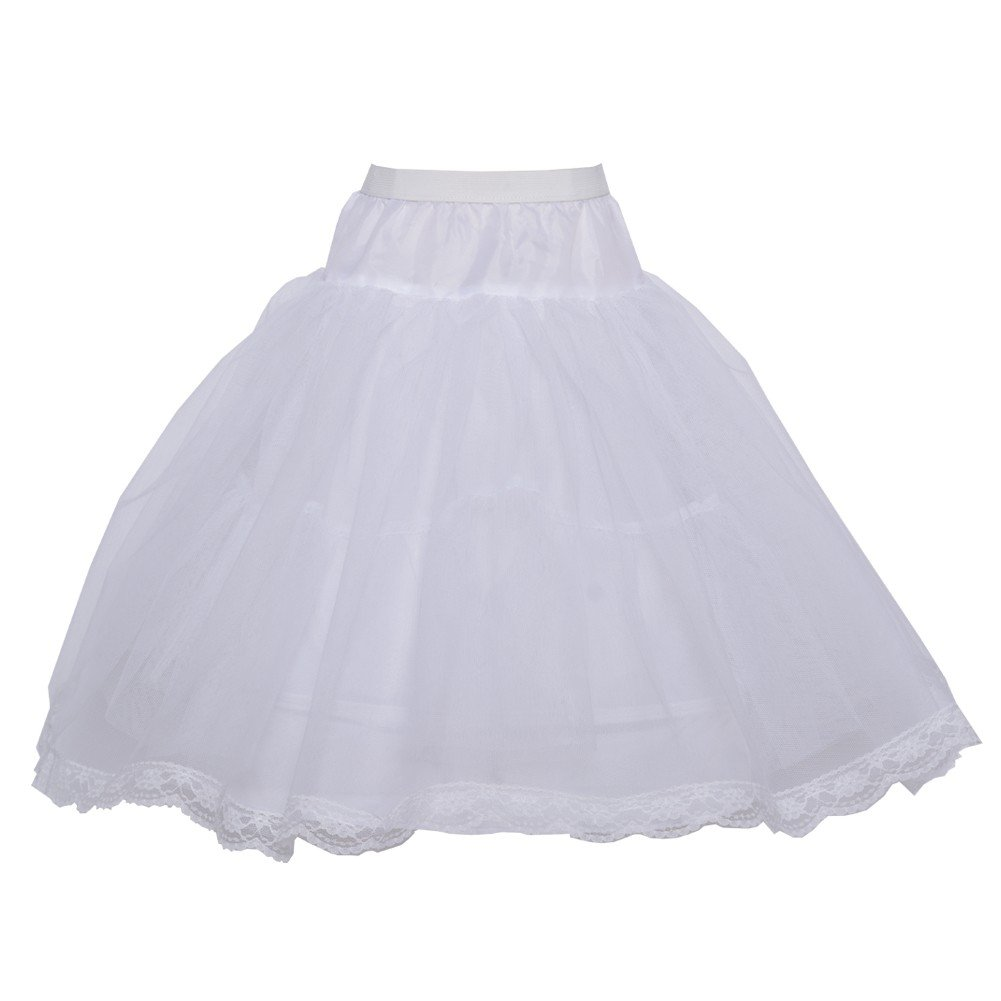 Angels Garment Big Girls White Trimmed Tulle Hoop Skirt Long Petticoat 8-10