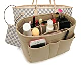 Felt Insert Fabric Purse Organizer Bag, Bag Insert In Bag with Zipper Inner Pocket Beige S