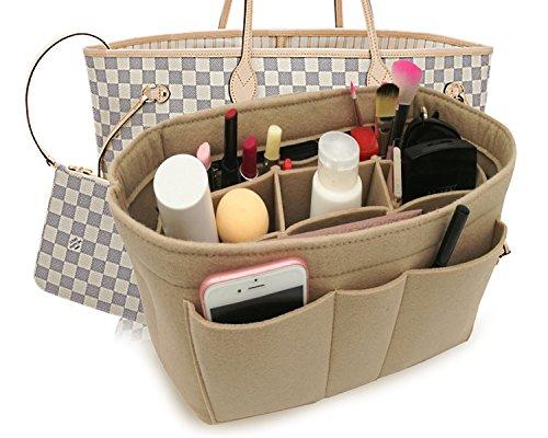 Felt Insert Fabric Purse Organizer Bag, Bag Insert In Bag with Zipper Inner Pocket Beige XL