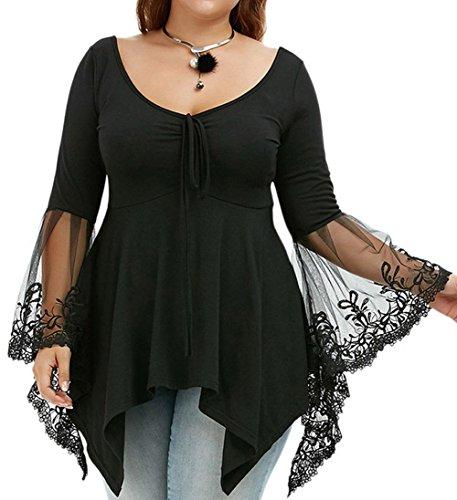 Bluewolfsea Womens Plus Size Elegant V Neck Lace Long Sleeve Babydoll Top Blouses T-shirts XXX-Large Black