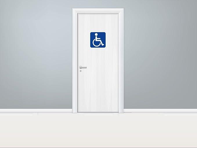 Señaletica Puertas Para Hoteles Decorativa 20,00 cm x 20,00 cm Minusválidos Cuadrado Azul | Decoración Pared | Aluminio 3 mm resistente: Amazon.es: Hogar