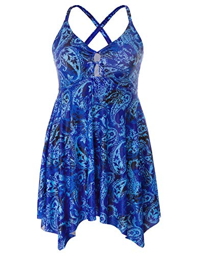 (Hanna Nikole Women's One Piece Swimsuits Plus Size Swimwear Cover up Swimdress Bathing Suits Blue)