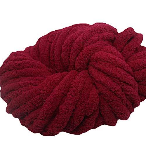 - Wine Red Chenille Chunky Knit Yarn,500g Arm Knitting Yarn for Chunky Knit Blankets,Chenille Yarn,Hand Knitting Yarn