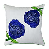 S4Sassy Decorative Flower Sequince Cushion Cover Square Pillowcase Sofa Throw 24 x 24