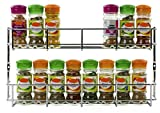 JTW -2 Tiers Saving space of Door Wall Mount Spice jar Rack Shelf Iron (size:37 x 4.5 x 21 Cm ) silver color