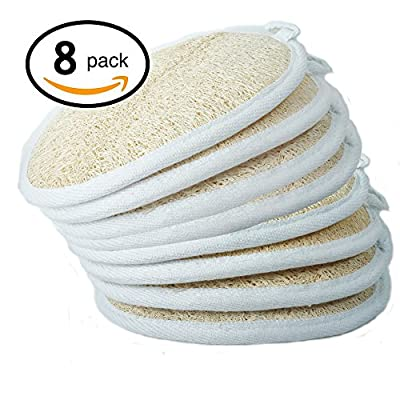 Exfoliating Loofah Sponge Pads (Pack of 8) - Large 4x6 - 100% Natural Luffa and Terry Cloth Materials Loofa Sponge Scrubber Body Glove - Men and Women - Shower and Bath