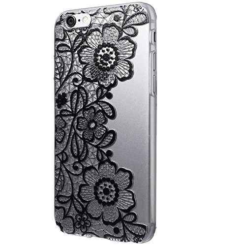 Koly Clear Black Lace Floral Flower Plastic Hard Case Cover for iPhone 6S 4.7inch