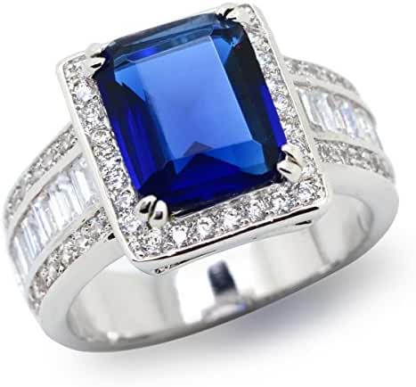 Sparkly Bride Rectangle Blue Clear CZ Baguette Side Stones Fashion Statement Ring