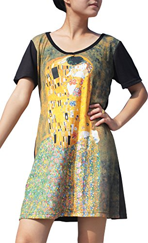 RaanPahMuang Gustav Klimt The Kiss Black Sleeve Dress, Medium