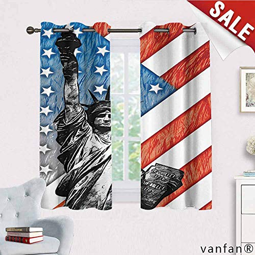 American Flag Decor Curtain Wand,Sketchy Statue Cultural Icon States Freedom History Country Love Artwork Curtains to Block Out Heat,Multi W55 x L63 ()