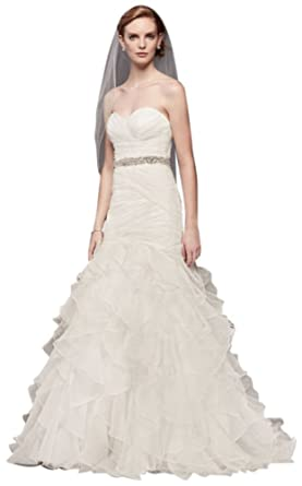 David\'s Bridal Organza Mermaid Wedding Dress with Ruffled Skirt ...