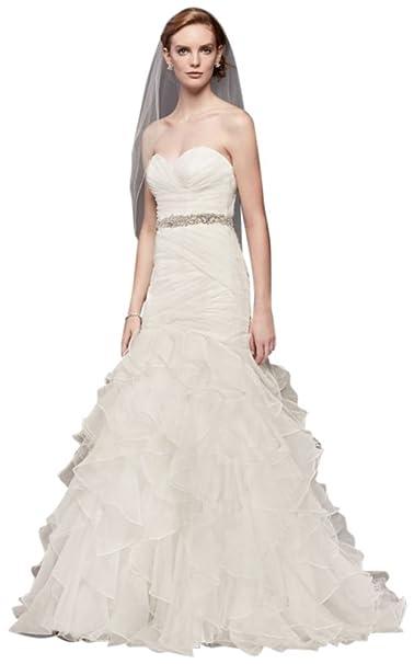 ad4c80542819 Organza Mermaid Wedding Dress with Ruffled Skirt Style WG3832, Ivory ...