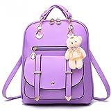 Fashion PU Leather Backpack Shoulder Bag Rucksack Travel Bag (M005-Purple)