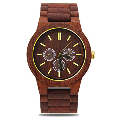 Wooden Watch for Men,Handmade Natural Sandalwood Casual Watch with Japan Quartz Movement as Creative Gift - Get Glasses Tightened